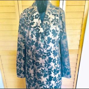 George - Long Gold designer coat w/ black flowers
